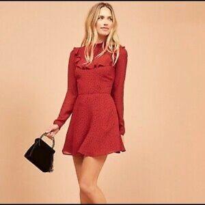 Reformation red dress w/ polka dots